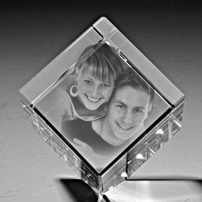 Kişiye Özel Kristal Fotoğraf 50x50x50 Kesik